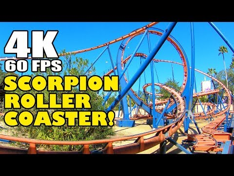 Scorpion Roller Coaster AWESOME 4K 60FPS Multi-Angle View Busch Gardens Tampa