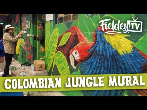 Colombian jungle street art mural
