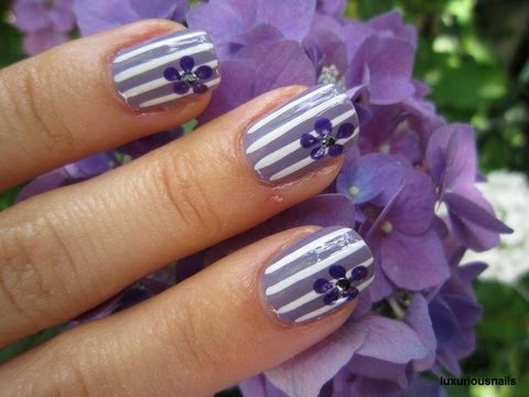 Summer Of Color Purple Flower Nail Art Tutorial Youtube