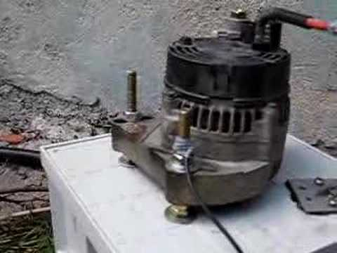 My micro turgo turbine and car    alternator     YouTube