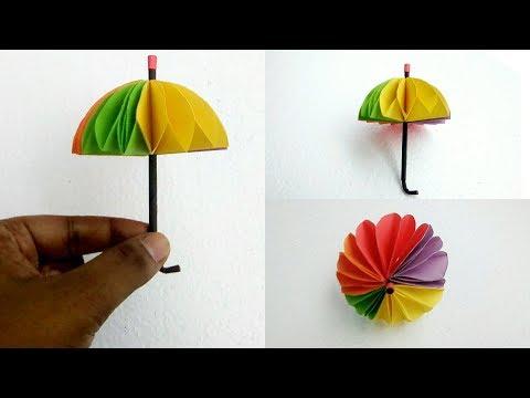 How To Make Umbrella With Colour Paper    DIY Paper Crafts For Kids    DIY Kids Room Decor