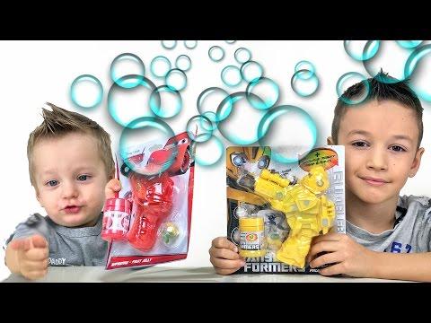 Надуваем Мыльные Пузыри Развлечения для детей Пистолет с мыльными Пузырями