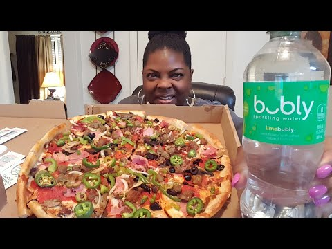 Mukbang/Garbage Can Pizza & New Bubly Lime Water•Eating Show