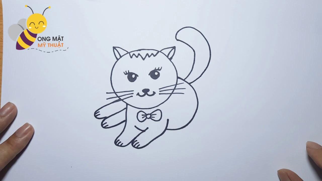 VẼ CON MÈO #1 I Cách vẽ Con Mèo Dễ thương Đơn giản l How to draw a cat