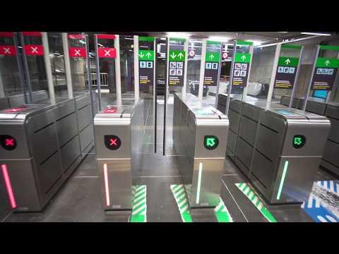 Sweden, Stockholm, Rådhuset subway station, 4X escalator , 3X elevator, 2X walkalator