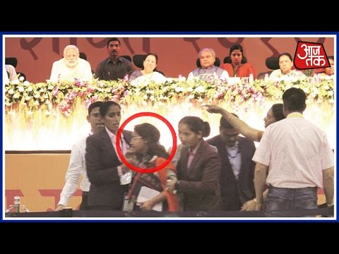 Woman Sarpanch Rushes Towards PM Modi At A Event In Ahmedabad, Taken Away
