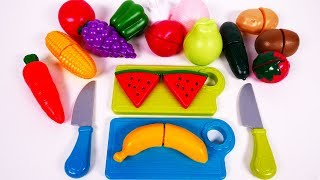 Learn Colors Fruits and Vegetables with Cutting Food Playset for Kids