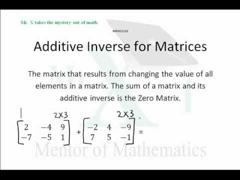 Additive Inverse For Matrices Youtube