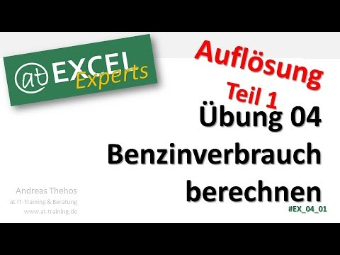 benzinverbrauch berechnen bung 4 l sung 1 at excel experts youtube. Black Bedroom Furniture Sets. Home Design Ideas
