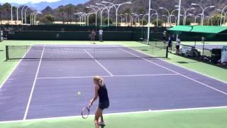 Agnieszka and Urszula Radwanska 2014 Indian Wells Practice 3.3.14 BNP Paribas Open