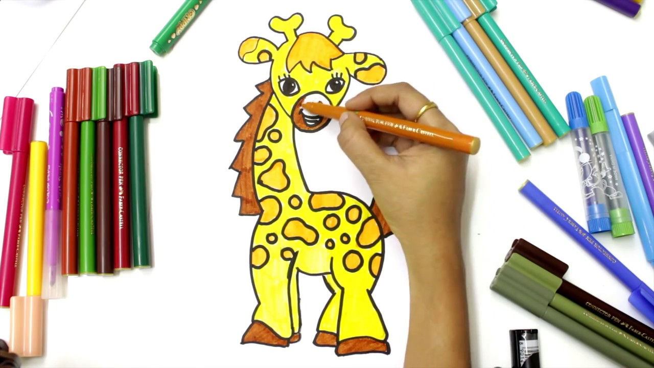 how to draw and coloring so cute giraffe for kids learning color