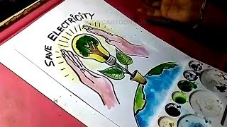 How to Draw Save Electricity and Save the World Drawing for Kids