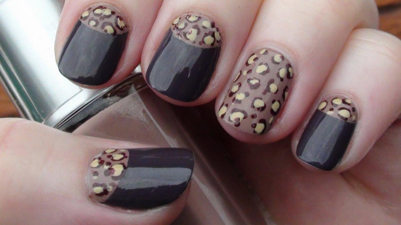Leopard Print Half Moon Nail Art Arcadianailart Youtube