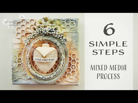 6 Simple Steps For BEGINNERS - MIXED MEDIA Canvas  ♡ Maremi's Small Art ♡