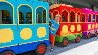 Eli ride on Magic Train and get to Different Play Areas