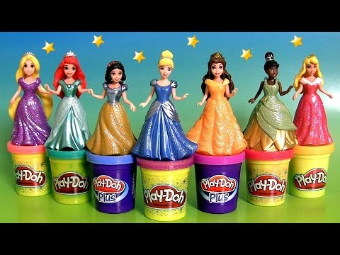 Design A Dress For 7 Disney Princess MagiClip Toys Using Play Doh Sparkle
