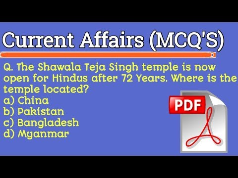 Daily Current Affairs Updates | Current Affairs MCQ's for JK