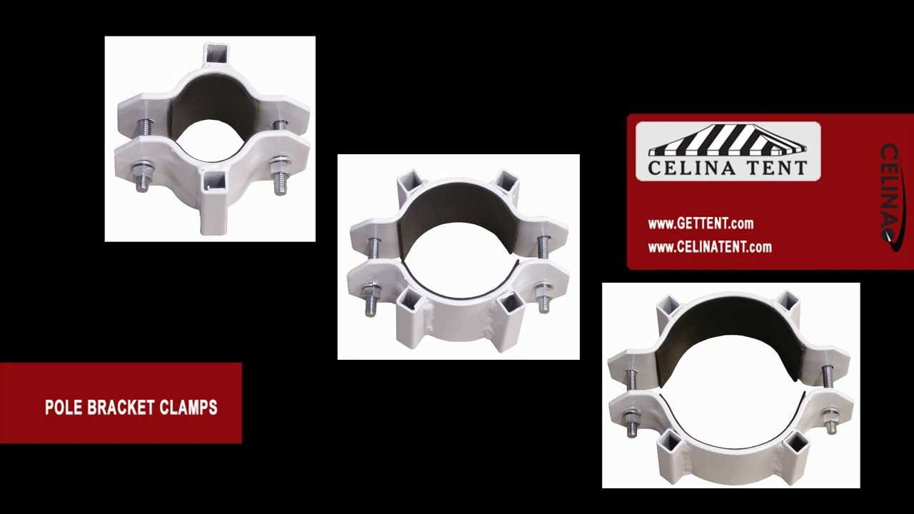 Bracket Cl&s for Tubing Pipe u0026 Poles. Celina Tent  sc 1 st  YouTube & Bracket Clamps for Tubing Pipe u0026 Poles - YouTube