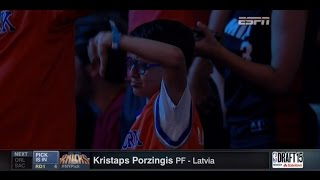 New York Knicks fans boo selection of Kristaps Porzingis at No. 4 in 2015 NBA Draft