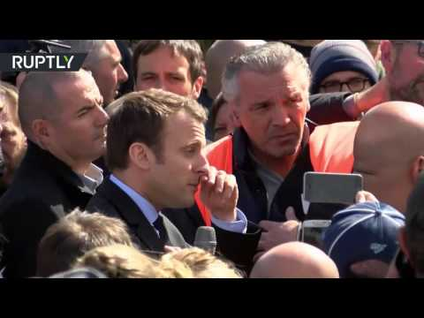 'He is a hypocrite!' France's Macron heckled by pro-Le Pen workers in his hometown