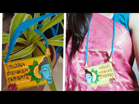 Diy fabric jewellery| Diy handpainted jewellery|  how to make paper jewelry | canvas jewellery|