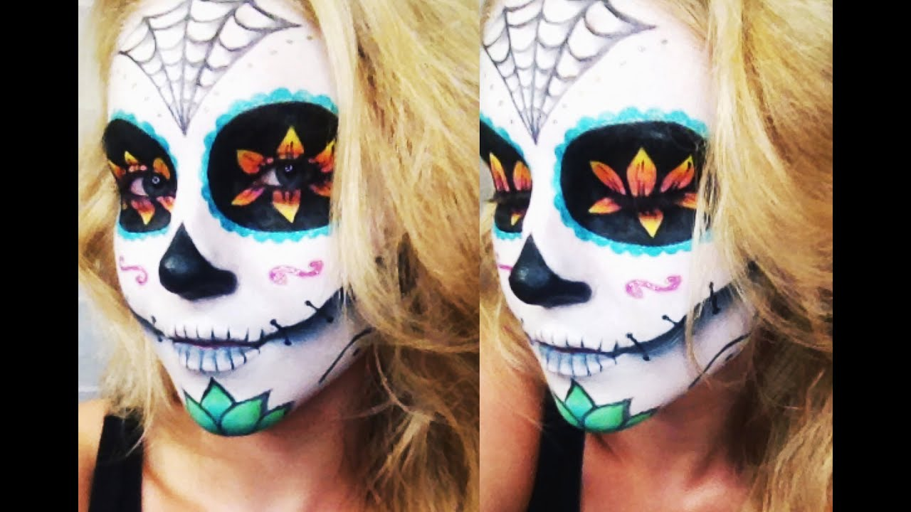 sugar skull halloween tutorial collab w allinicoleee and makeupwithjah youtube