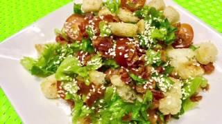 Готовим хрустящий салат с беконом и сухариками/ готовим вкусный салат без майонеза
