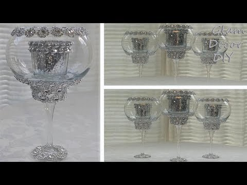 Dollar Tree DIY Bling Candle Holder Decor