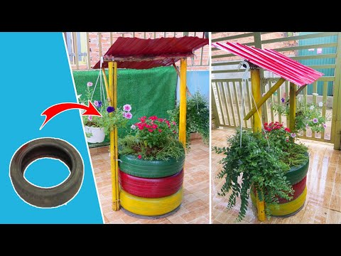 easy-diy-garden-wishing-well-from-recycled-tires-|-john-ideas