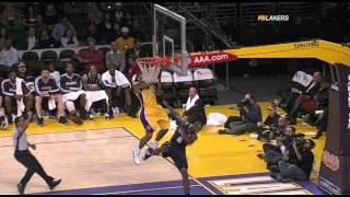 02 17 2009   Hawks vs  Lakers   Shannon Brown Amazing Athletic Block On Mario West