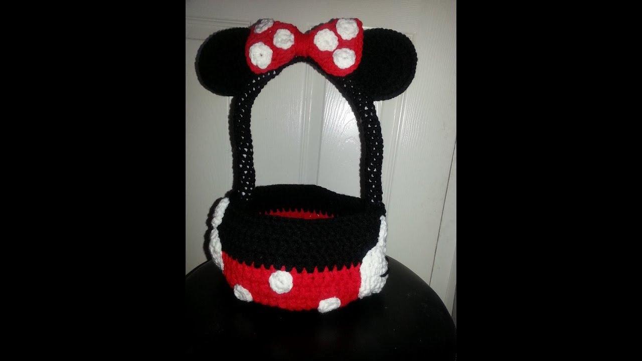 canasta minnie mouse tejida a crochet - YouTube