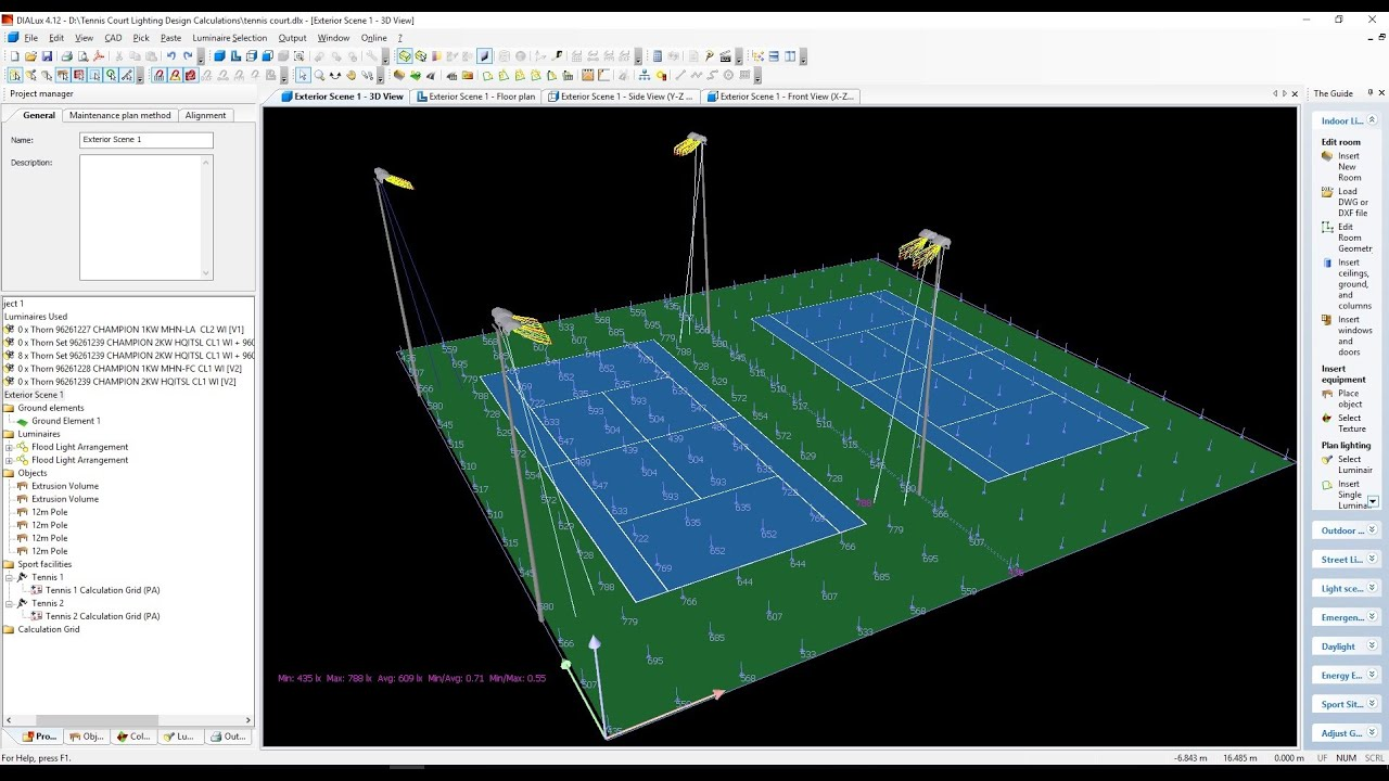 Tennis Courts Lighting Design Calculations Part 1