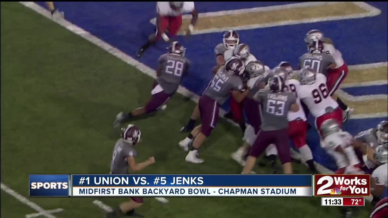 union pulls away from jenks in a high scoring backyard bowl 59 40