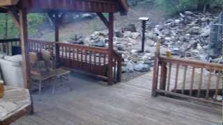 Big Bear Lake Waterfall Firepit And Pond. Diy Homemade Rock Decoration