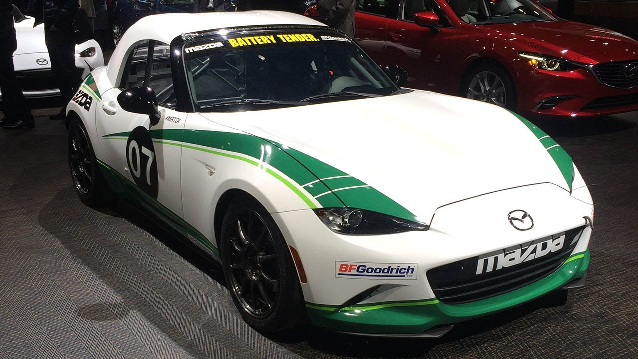 mazda mx 5 hardtop cup race car at detroit auto show youtube. Black Bedroom Furniture Sets. Home Design Ideas