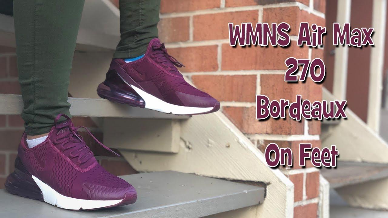 WMNS Bordeaux Air Max 270 On Feet