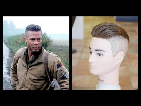 Brad Pitt Fury Mens Haircut Tutorial Thesalonguy Youtube