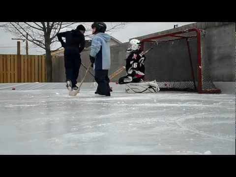 First time in goalie equipment on backyard rink