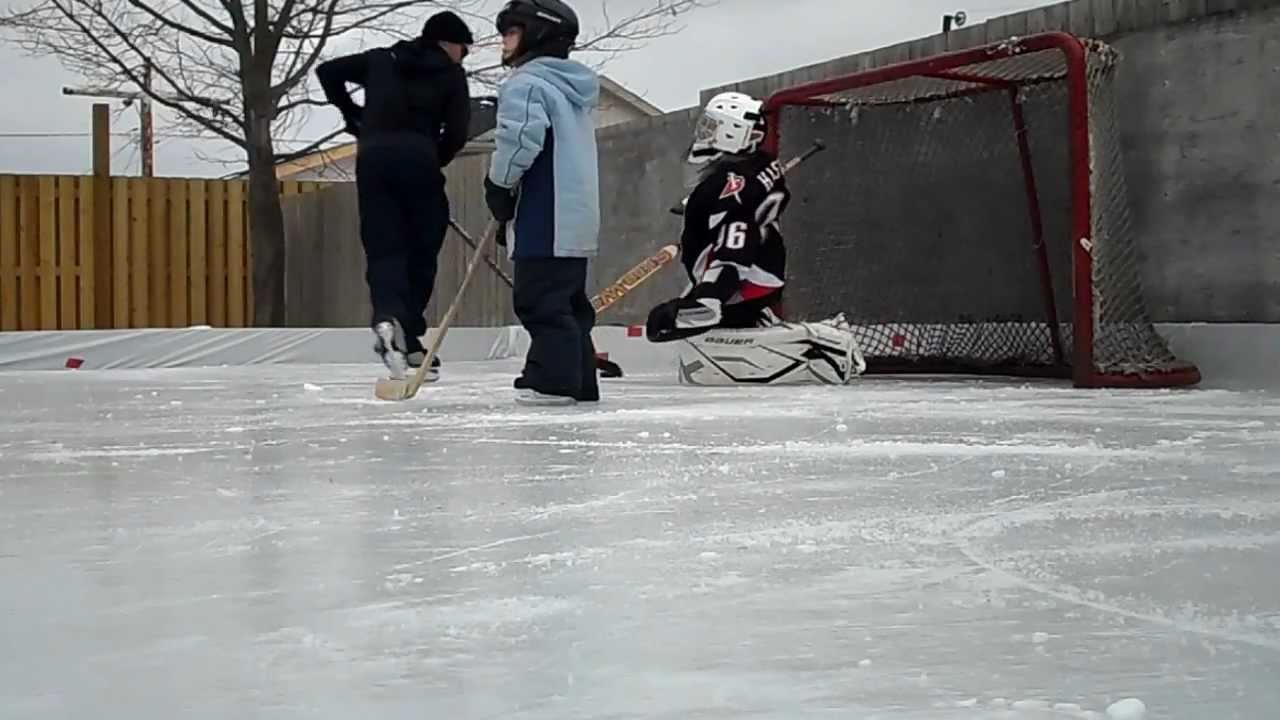 first time in goalie equipment on backyard rink youtube