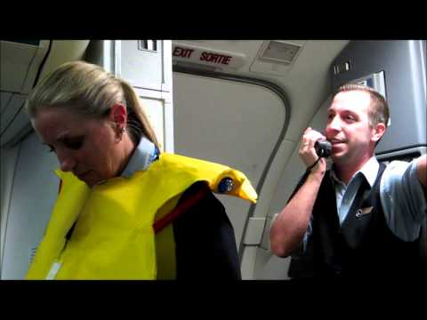 Hilarious Westjet flight attendant before takeoff with Tommy