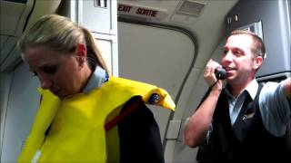 Part 1: Hilarious Westjet flight attendant before takeoff with Tommy