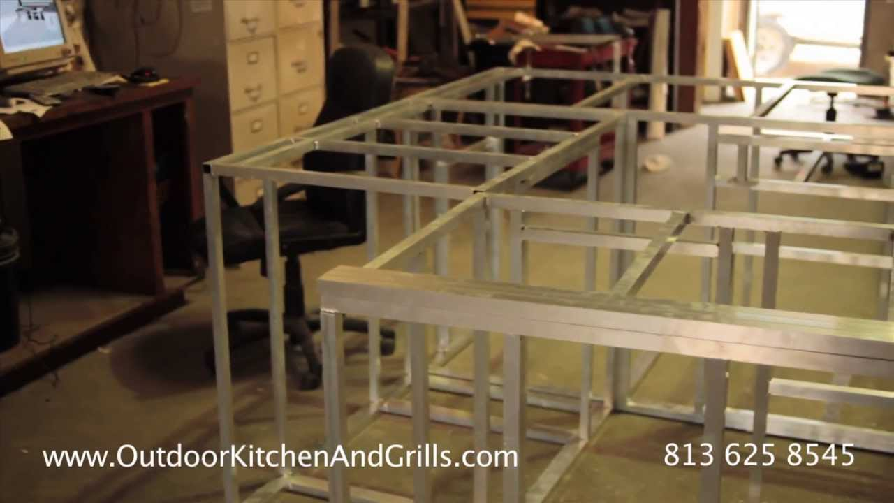 how to build outdoor kitchen aluminum frame for outdoor kitchen and grills frames youtube - Kitchen Cabinets Frames