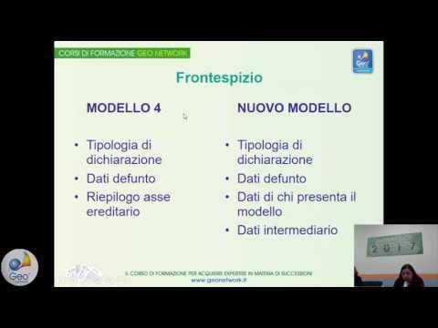 Nuovo Modello 4 nelle successioni, presentazione corso