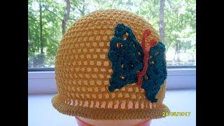 Летняя шапочка с бабочкой крючком