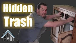 How to install pull out trash , hidden trash, hide a can. Easy! Home Mender.