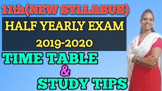 11th Half yearly Exam Time Table 2019 2020 official