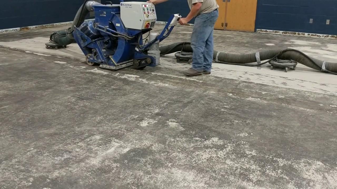 Shot Blasting a Concrete Slab