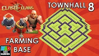TH8 Dark Elixir FARMING Base (Anti Giant Air) with AIR SWEEPER- Clash of Clans 2015