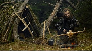 Bushcraft trip - making woodshed - permanent a-frame camp series [part 2 - long version]