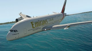 A380 Water Emergency Crash Landing  - X-Plane 11